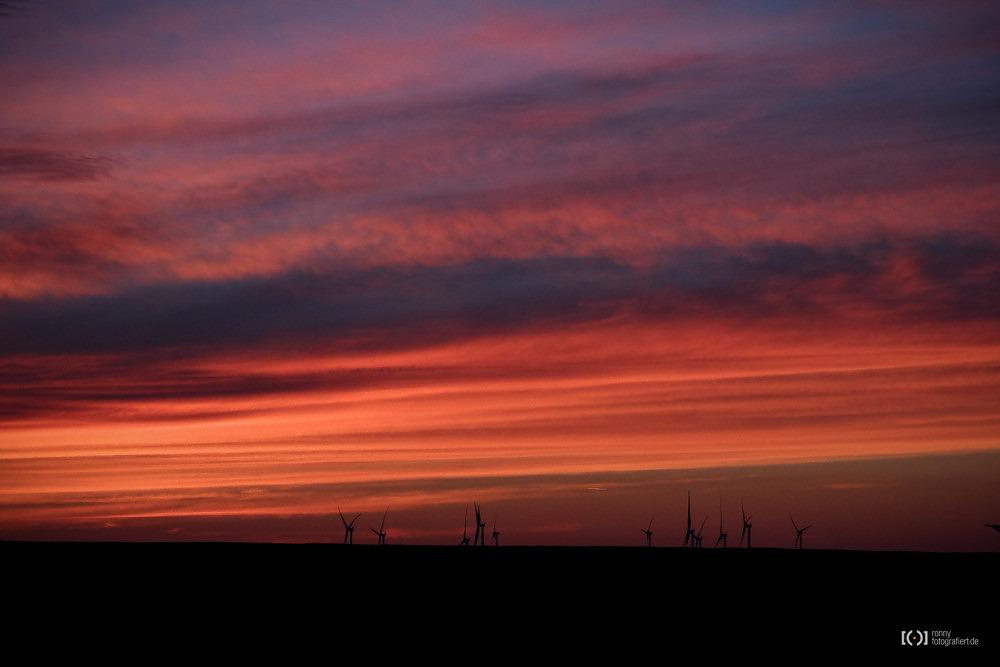 Foto Windräder im Sonnenuntergang in Schillig von Bärbel Stork
