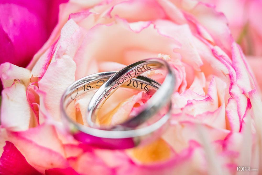 Foto Detailaufnahme der Eheringe in Blumen von Ronny Walter
